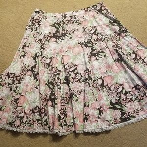 Dress Barn Size 14 Skirt Brown/pink/green floral
